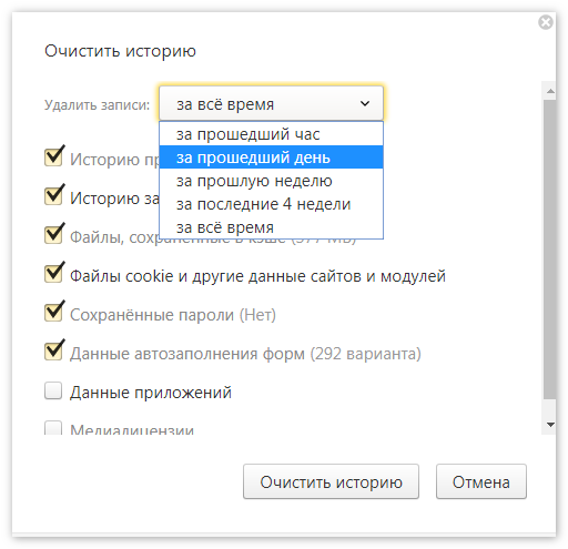 Чистка истории Яндекс Браузер