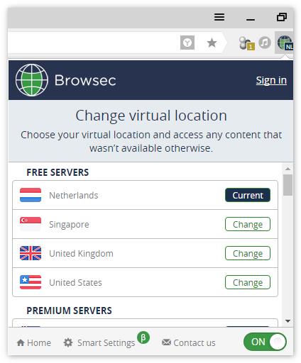 Интерфейс Browsec
