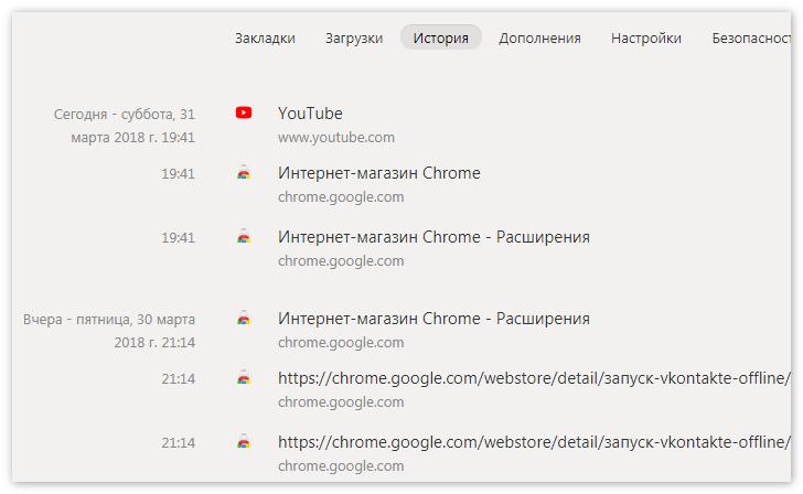 История вкладок Яндекс Браузер