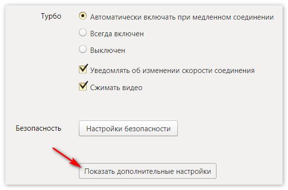 Показ дополнительных настроек Яндекс Браузер