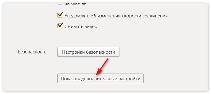 Показать дополнительные настройки ЯндексБраузер