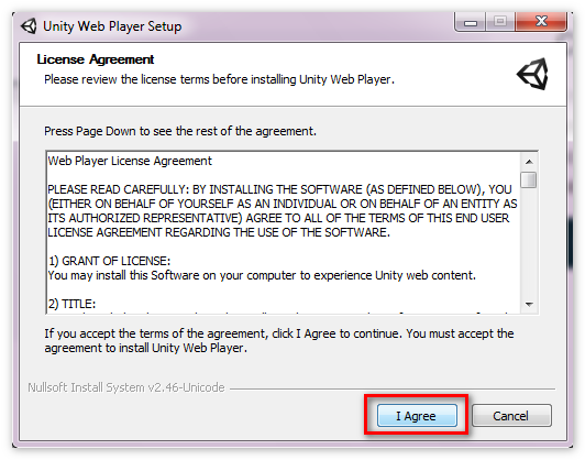 Принять лицензионное соглашение Unity WebPlayer