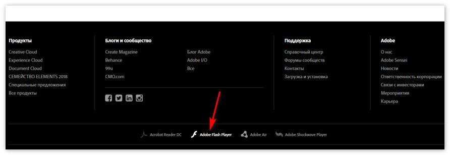 Раздел Adobe Flash Player