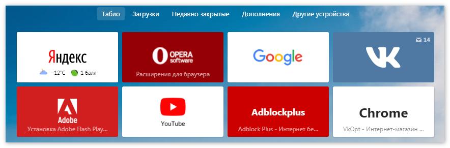 Табло Яндекс Браузер