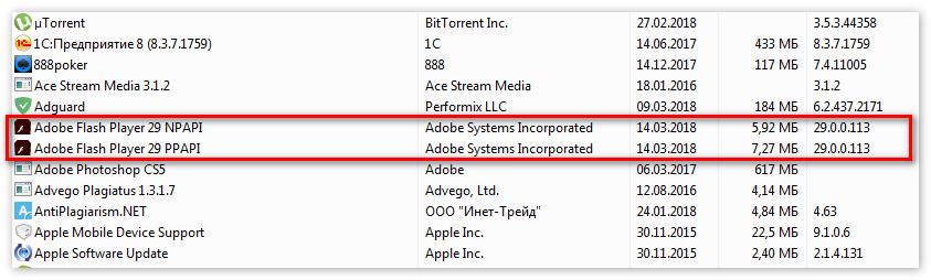 Удалить Adobe Flash Player