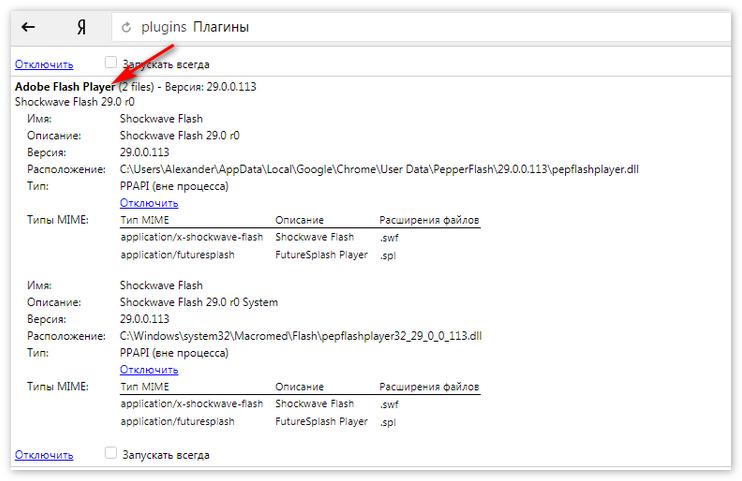 Встроенный Adobe FlashPlayer
