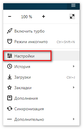 Options Yandex Browser