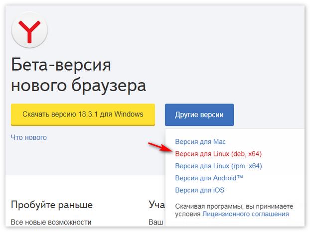 Скачать для Linux Yandex Browser