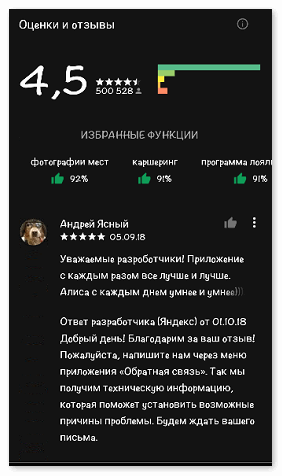 Отзывы об Алисе Яндекс в Гугл Плэй